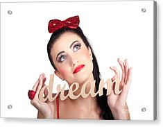 Isolated Pin Up Woman With A Dream In Grasp Acrylic Print by Jorgo Photography - Wall Art Gallery