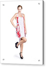 Isolated Woman In Kitchen Apron Acrylic Print