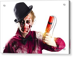 Isolated Zombie Woman With Dynamite Acrylic Print by Jorgo Photography - Wall Art Gallery