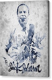 Jack Johnson Portrait Acrylic Print by Aged Pixel