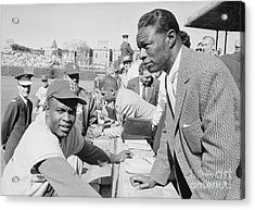 Jackie Robinson And Nat King Cole At Wrigley Field Acrylic Print