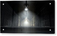Jail Corridor And Cells Acrylic Print by Allan Swart