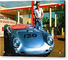 James Dean Filling His Spyder With Gas Acrylic Print by Doc Braham