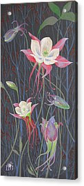 Acrylic Print featuring the painting Japanese Flowers by Marina Gnetetsky