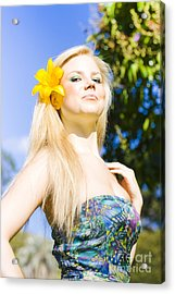 Jaunty Beauty With Flower Acrylic Print