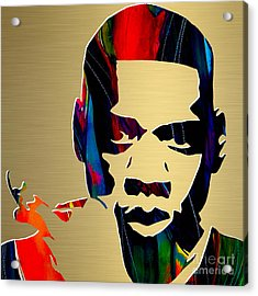 Jay Z Gold Series Acrylic Print by Marvin Blaine