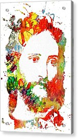 Jesus Christ - Watercolor Acrylic Print by Doc Braham