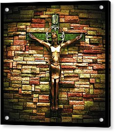 Jesus Is His Name Black Border Acrylic Print