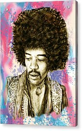 Jimi Hendrix Stylised Pop Art Drawing Potrait Poster Acrylic Print by Kim Wang