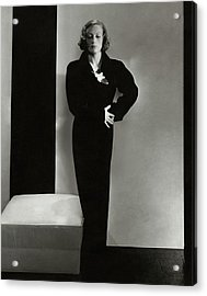 Joan Crawford Wearing A Schiaparelli Dress Acrylic Print by Edward Steichen
