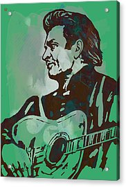 Johnny Cash - Stylised Etching Pop Art Poster Acrylic Print