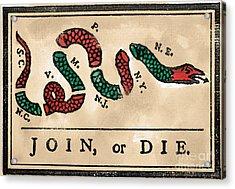 Join Or Die Cartoon 1754 Acrylic Print by Granger