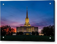 Jordan River Temple Sunset Acrylic Print by La Rae  Roberts