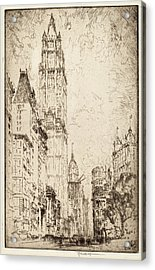 Joseph Pennell, The Woolworth Building, American Acrylic Print