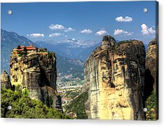 Kalambaka Beneath The Meteora Of Greece Acrylic Print by Micah Goff