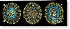 Kaleidoscope Steampunk Series Triptych Acrylic Print by Amy Cicconi