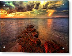 Karuah Sunset Acrylic Print by Paul Svensen