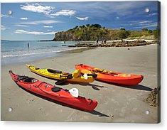 Kayaks On Beach Near Doctors Point Acrylic Print by David Wall