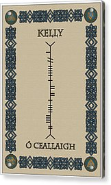 Acrylic Print featuring the digital art Kelly Written In Ogham by Ireland Calling