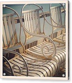Beach Bar Chairs Acrylic Print