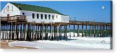 Kitty Hawk Pier On The Beach, Kitty Acrylic Print