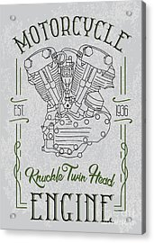Knuckle Twin Head Motorcycle Engine Acrylic Print by Sergj