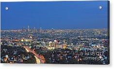 L.a. Skyline Los Angeles Ca Cityscape Night Dusk Lit Lights On 3 Acrylic Print