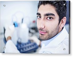 Lab Assistant Using Equipment Acrylic Print by Science Photo Library