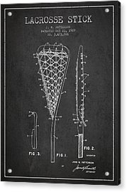 Lacrosse Stick Patent From 1970 -  Charcoal Acrylic Print by Aged Pixel