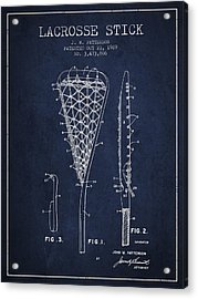 Lacrosse Stick Patent From 1970 -  Navy Blue Acrylic Print by Aged Pixel