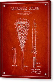 Lacrosse Stick Patent From 1970 -  Red Acrylic Print by Aged Pixel