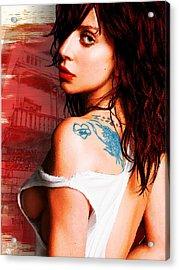 Lady Gaga Blue Tattoo Acrylic Print by Tony Rubino