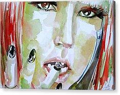 Lady Gaga - Watercolor Portrait.1 Acrylic Print by Fabrizio Cassetta
