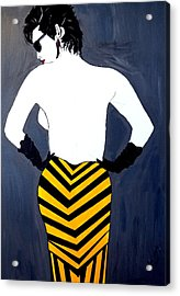 Acrylic Print featuring the painting Lady In Stripes by Nora Shepley