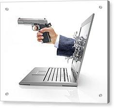 Laptop With Hand And Gun Acrylic Print by Leonello Calvetti