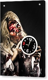 Late Zombie Woman Holding Clock. Passing Time Acrylic Print