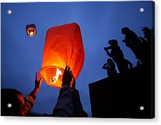Launching Wish Lanterns Acrylic Print by Science Photo Library