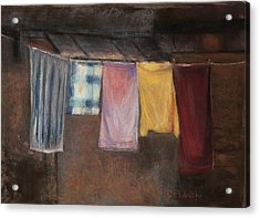 Acrylic Print featuring the pastel Laundry Day by Cindy Plutnicki