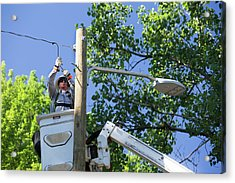 Led Street Light Installation Acrylic Print by Jim West