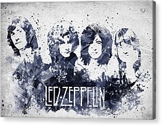 Led Zeppelin Portrait Acrylic Print by Aged Pixel