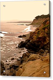 Leffingwell Landing Cambria Digital Painting Acrylic Print by Barbara Snyder