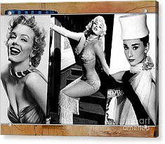 Legends Marilyn Monroe Jane Mansfield And Audrey Hepburn Acrylic Print by Marvin Blaine