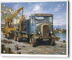 Leyland Hippo At Brixham. Acrylic Print by Mike  Jeffries