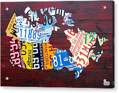 License Plate Map Of Canada Acrylic Print by Design Turnpike