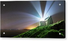 Lighthouse Beams At Night Acrylic Print by Laurent Laveder