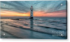 Lighthouse Sunset Acrylic Print by Adrian Evans