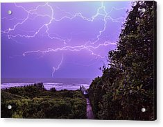 Lightning Over The Beach Acrylic Print