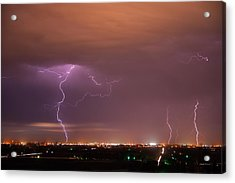 Lightning Storm Acrylic Print by Leland D Howard