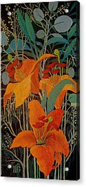 Acrylic Print featuring the painting Lilies by Marina Gnetetsky