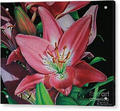 Acrylic Print featuring the painting Lily's Garden by Pamela Clements